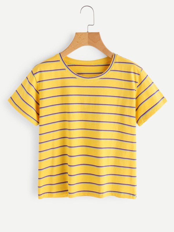 Rainbow Striped Tee | SHEIN UK