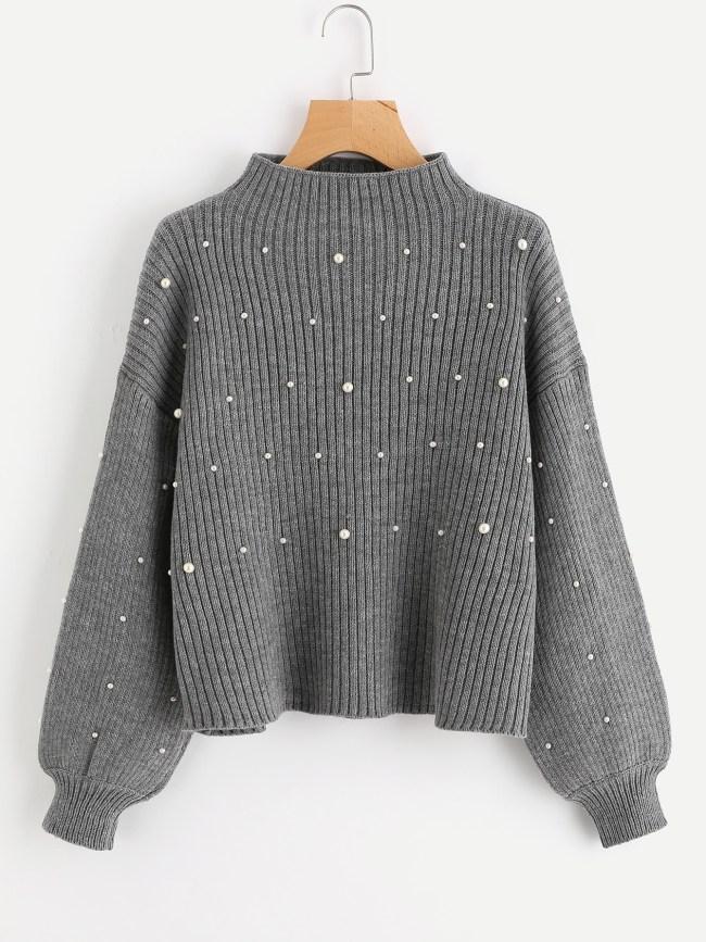 jersey perlas gris punto bombacho maxi