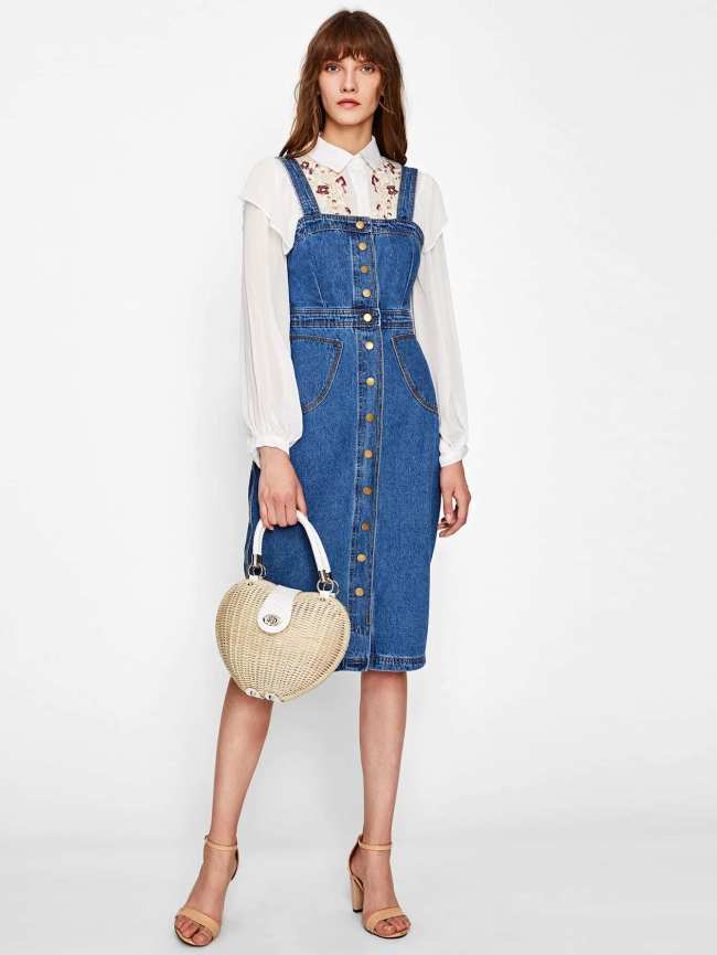 SheIn Button Front Strap Denim Overall Dress