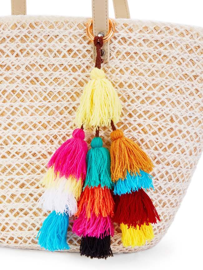 SheIn Color Block Mini Tassel Keychain