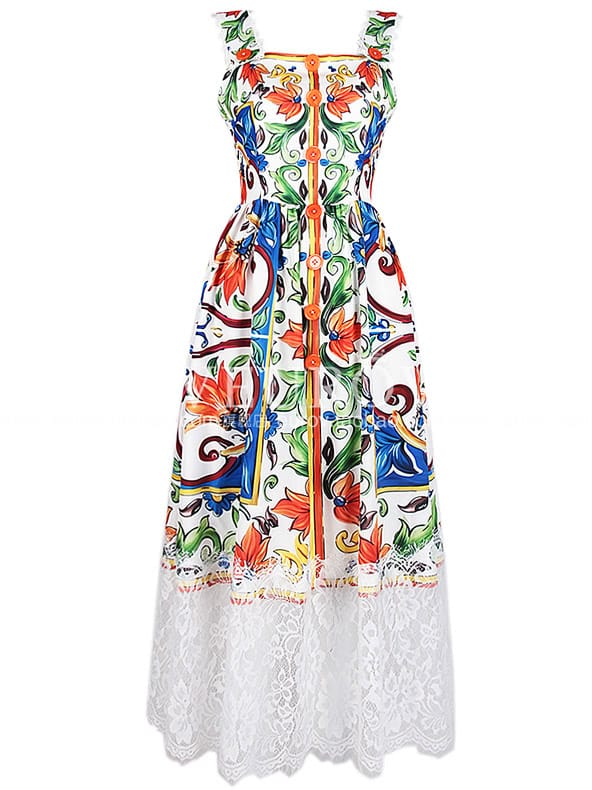 SheIn Strap Backless Print Contrast Lace Dress