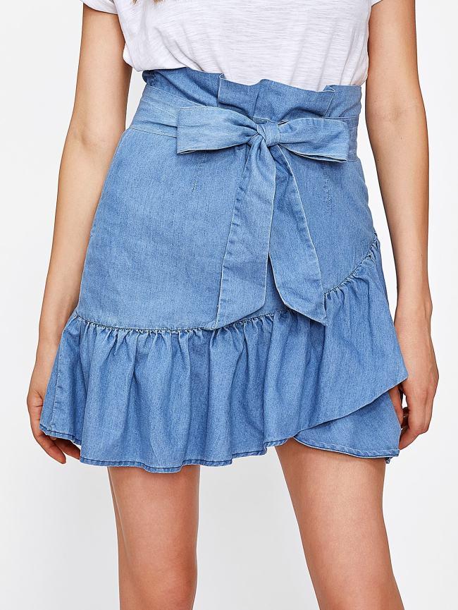 SheIn Self Belted Ruffle Hem Overlap Skirt