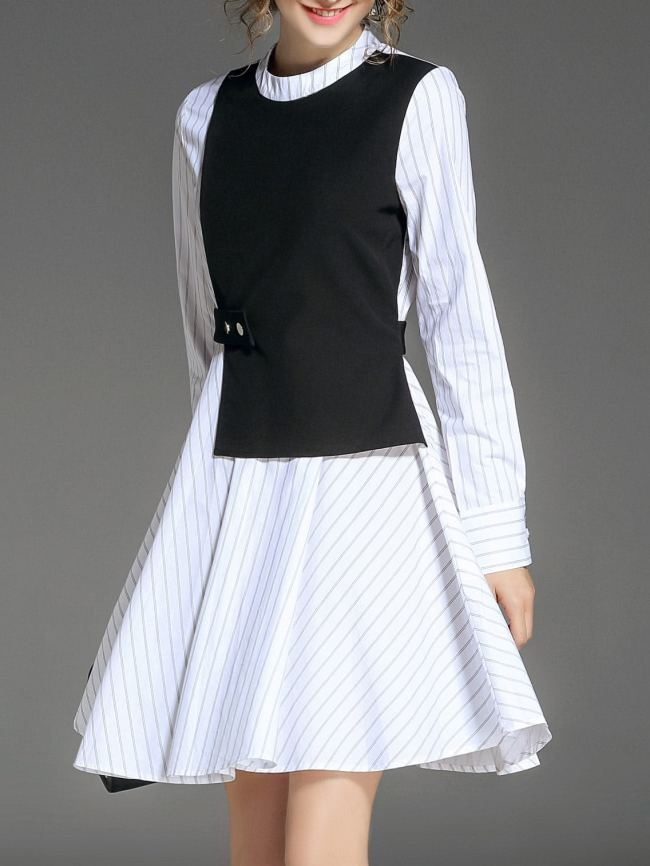 SheIn Striped False Two Pieces Dress
