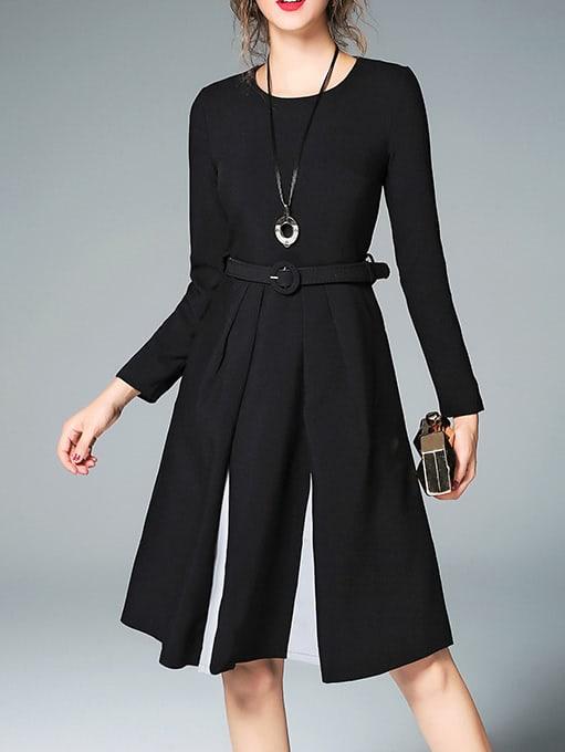 SheIn Color Block Belted Dress