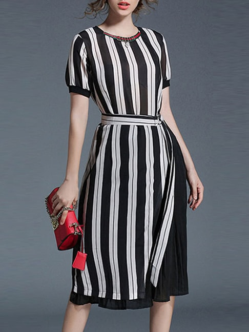 SheIn Color Block Striped Pleated Dress