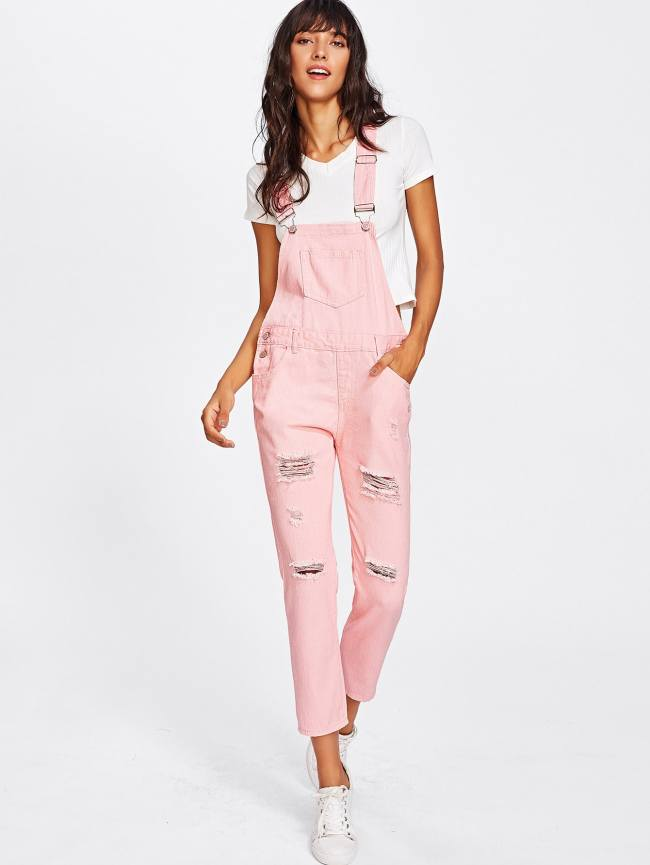 SheIn Pocket Front Ripped Denim Overalls