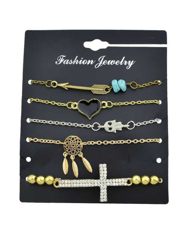 SheIn 5Pcs/Set Gold And Silver Retro Pendant Bracelet