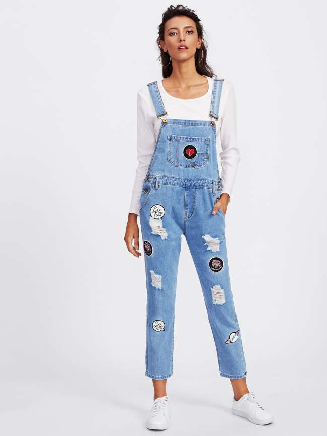 SheIn Embroidered Patch Ripped Overalls