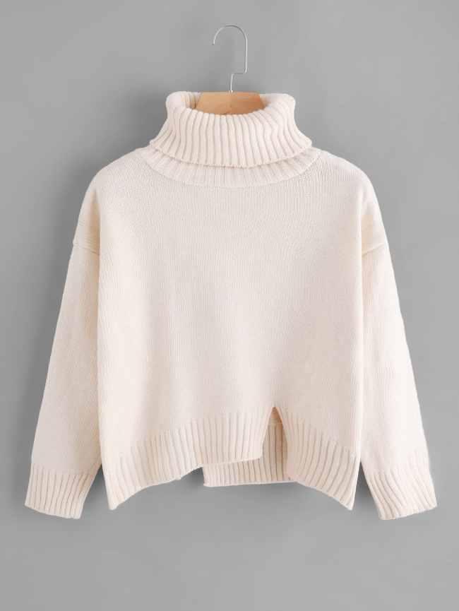 SheIn Turtleneck Raw Cut Dip Hem Sweater