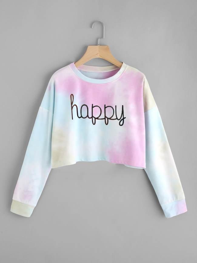 SheIn Drop Shoulder Water Color Crop Sweatshirt
