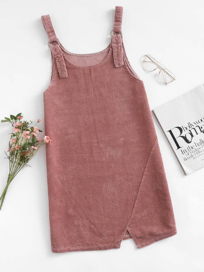 SheIn Corduroy Cut Out Hem Overall Dress