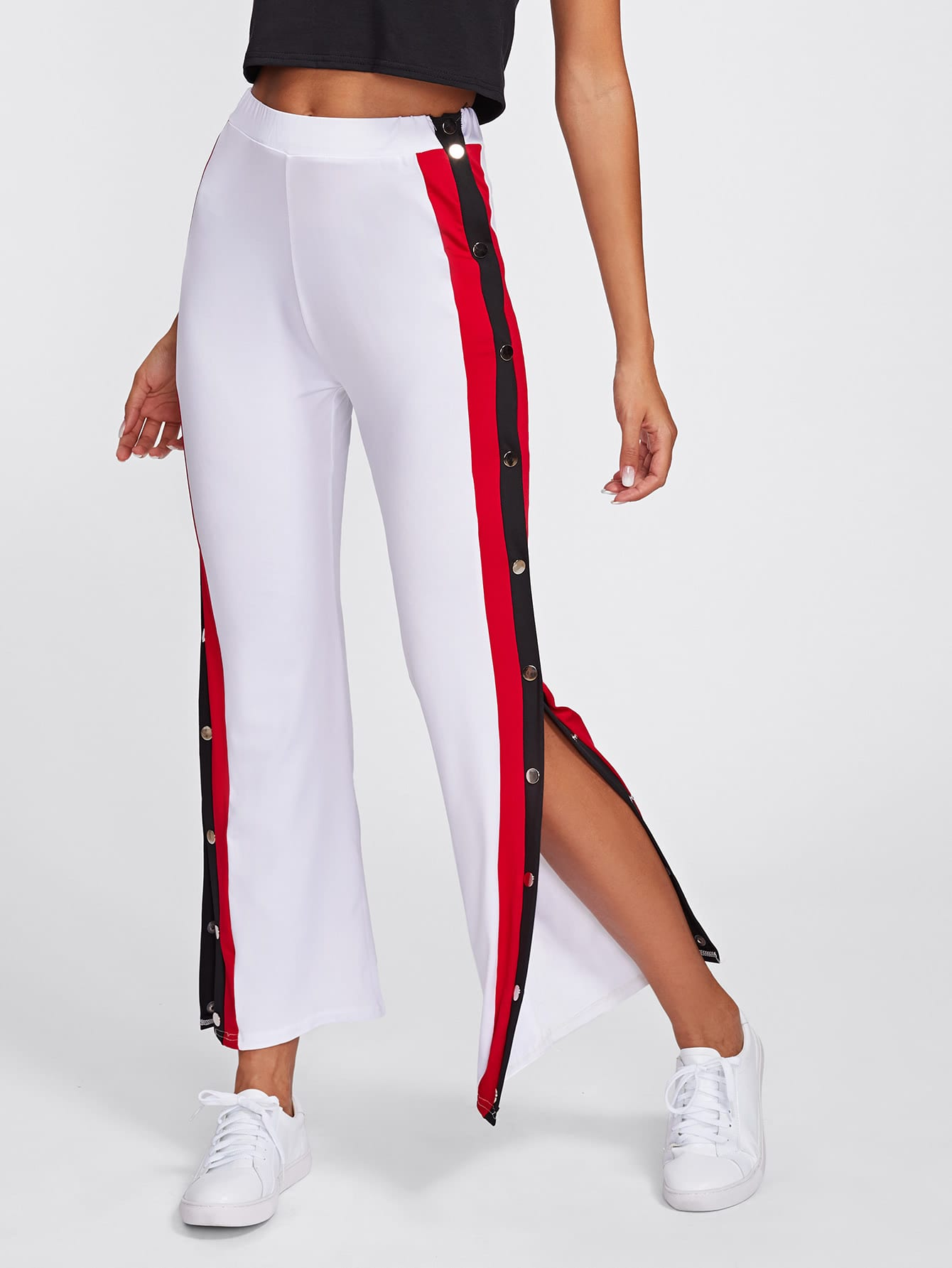 Pantalones Con Abertura Con Botones De Lado De Rayas