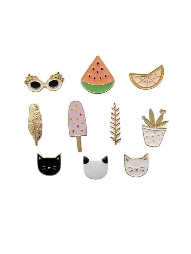 SheIn Cat & Plant Design Brooch Set