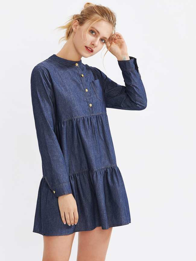 SheIn Tiered Denim Dress With Chest Pocket