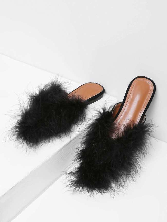 SheIn Faux Fur Decorated Flats