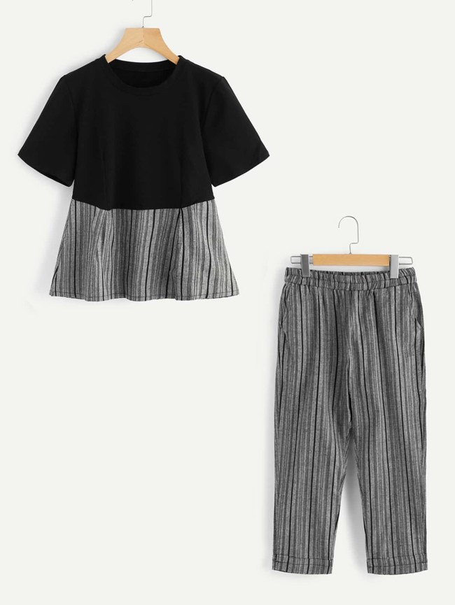 SheIn Contrast Striped Hem Top With Cuffed Pants