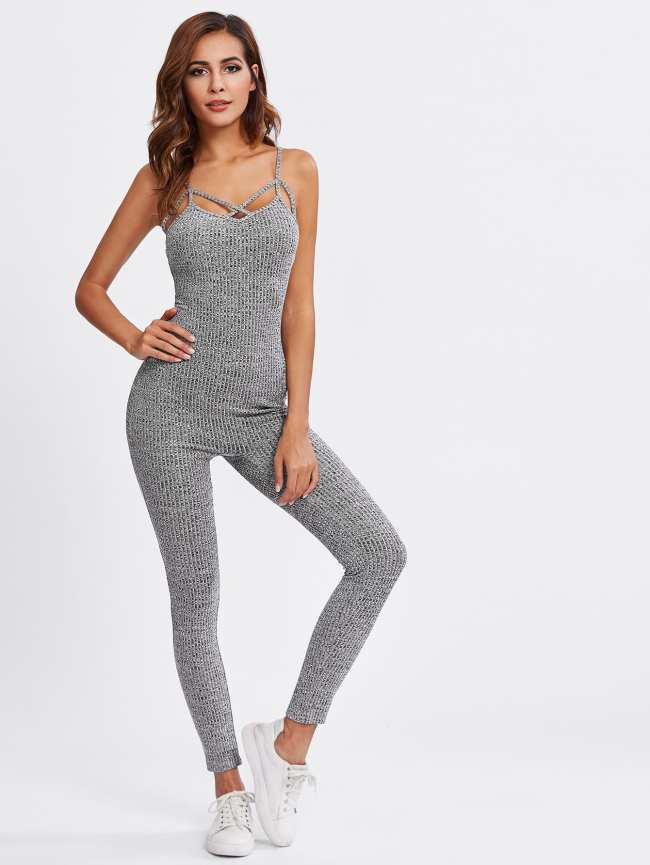 SheIn Caged Marled Tailored Cami Jumpsuit