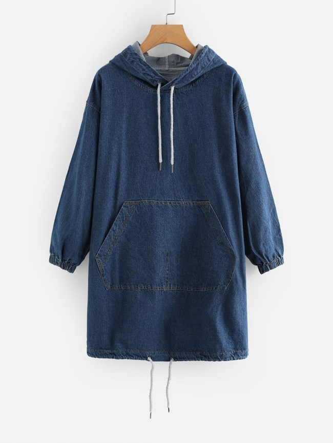 SheIn Drop Shoulder Kangaroo Pocket Denim Hooded Dress
