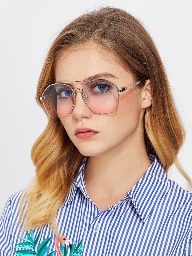 SheIn Double Bridge Metal Frame Glasses
