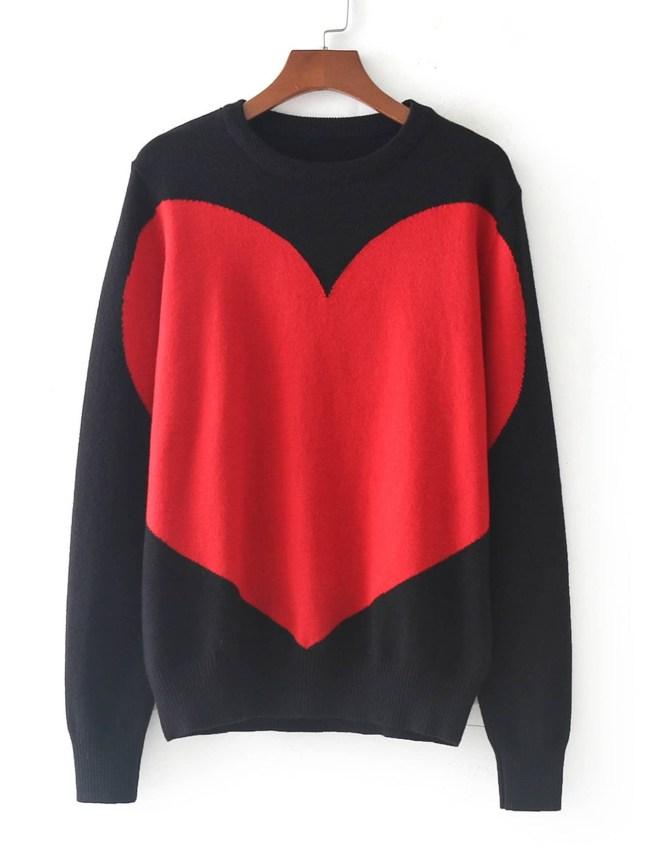 SheIn Oversize Heart Print Sweater