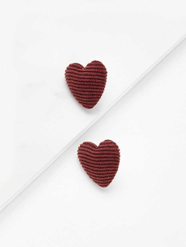SheIn Ribbed Heart Stud Earrings