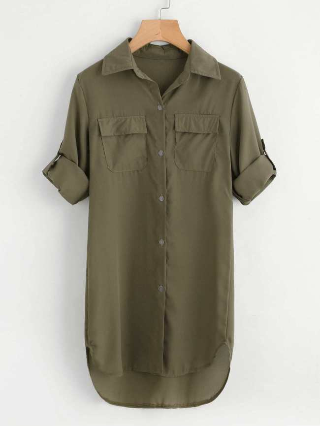SheIn Rolled Sleeve Dip Hem Shirt Dress