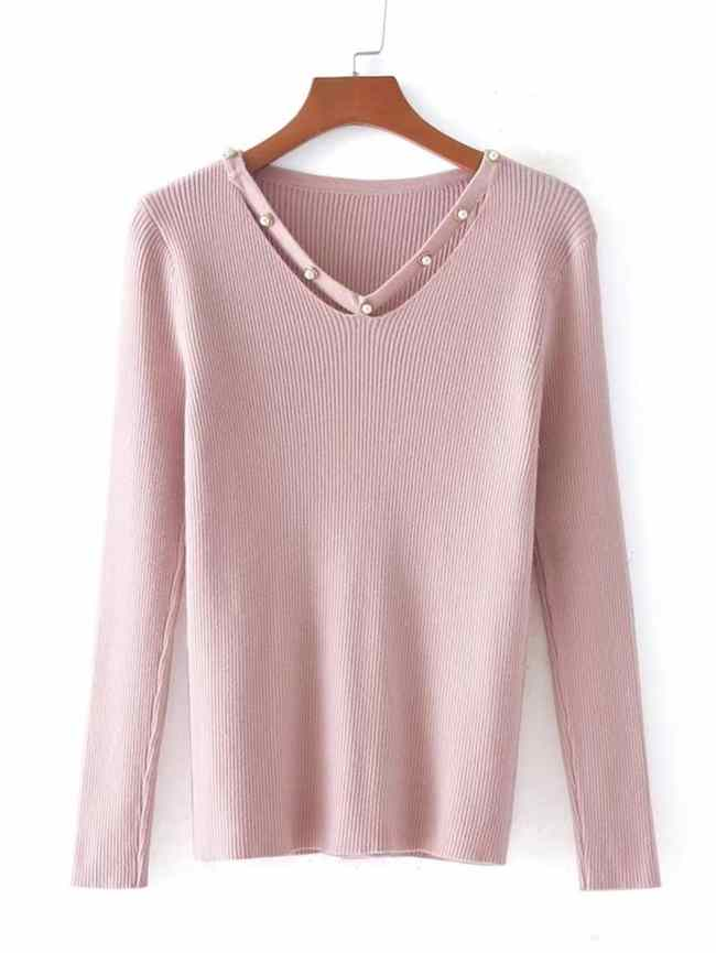 SheIn Faux Pearl Embellished Neck Rib Knit Sweater