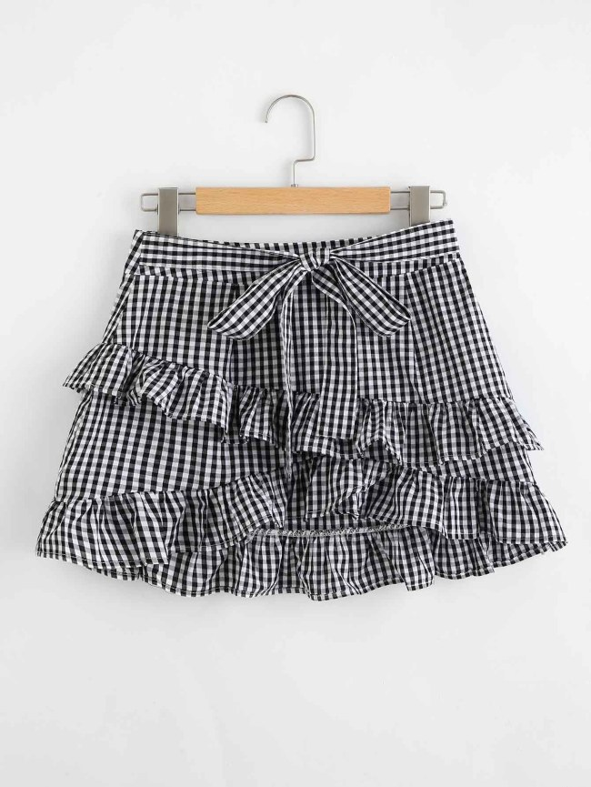 SheIn Tiered Frill Trim Gingham Skirt
