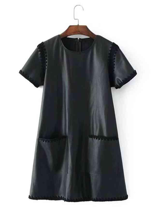 SheIn Crochet Trim Faux Leather Dress