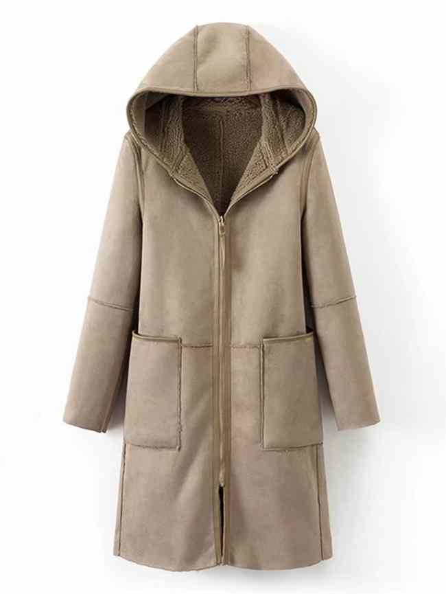 SheIn Multiway Seam Detail Suede Sherpa Hooded Coat