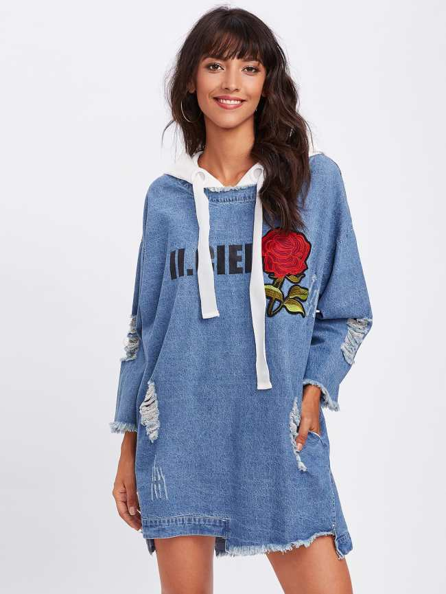 SheIn Rose Embroidered Ripped Hem Hooded Denim Dress