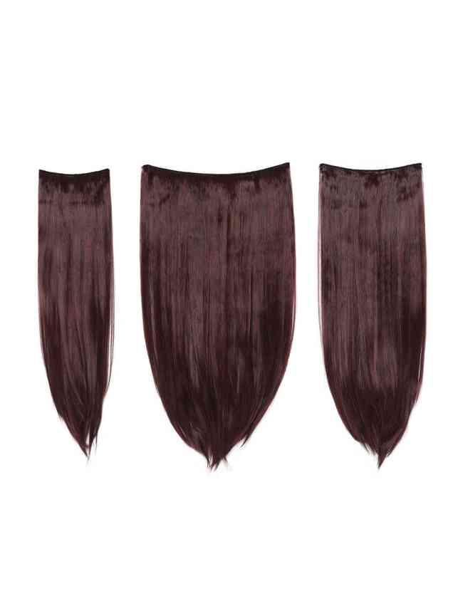 SheIn Black & Burgundy Clip In Straight Hair Extension 3pcs