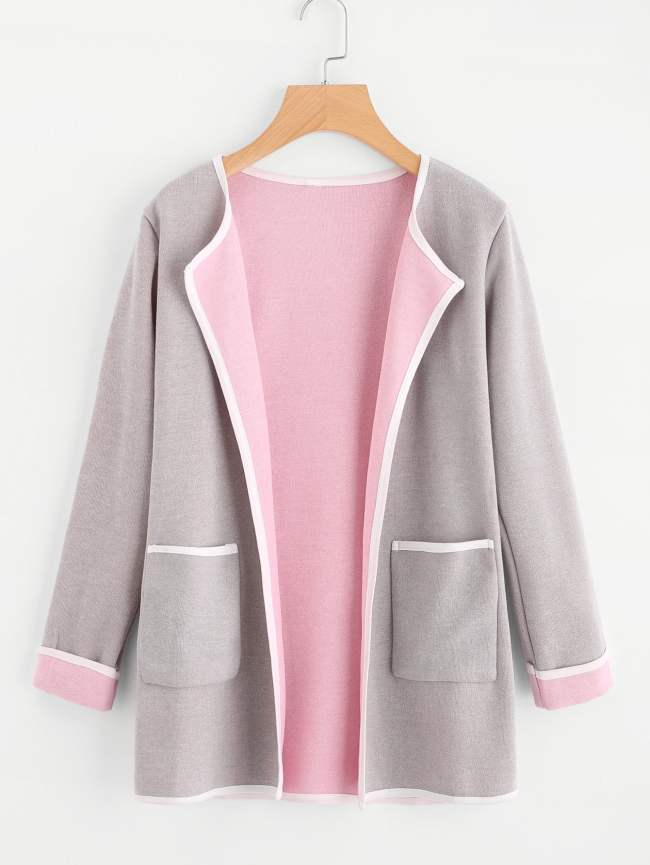 SheIn Contrast Trim Dual Pocket Coat