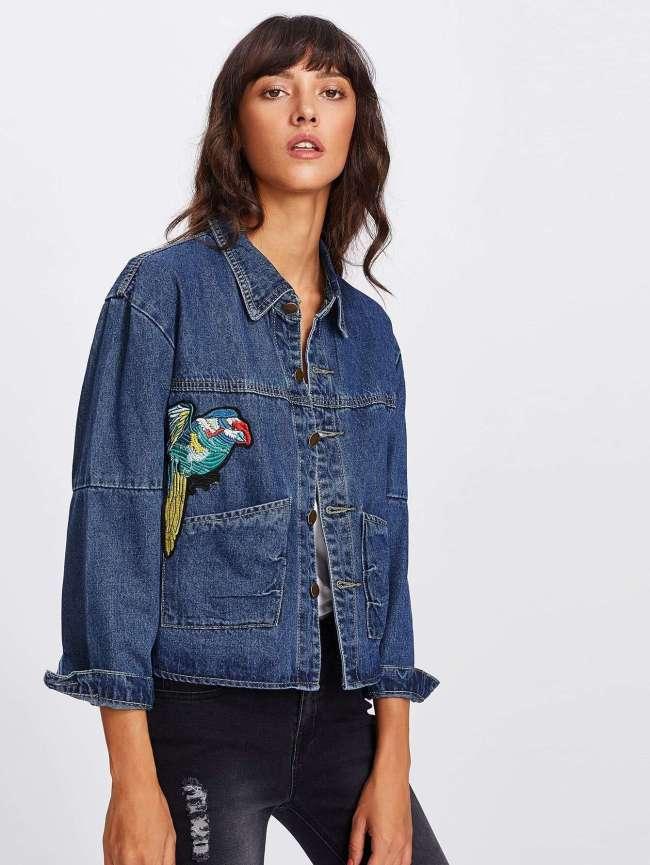 SheIn Bird Embroidered Denim Jacket