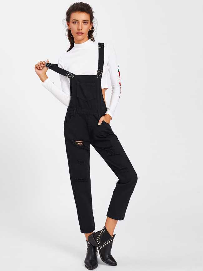 SheIn Ripped Denim Overalls