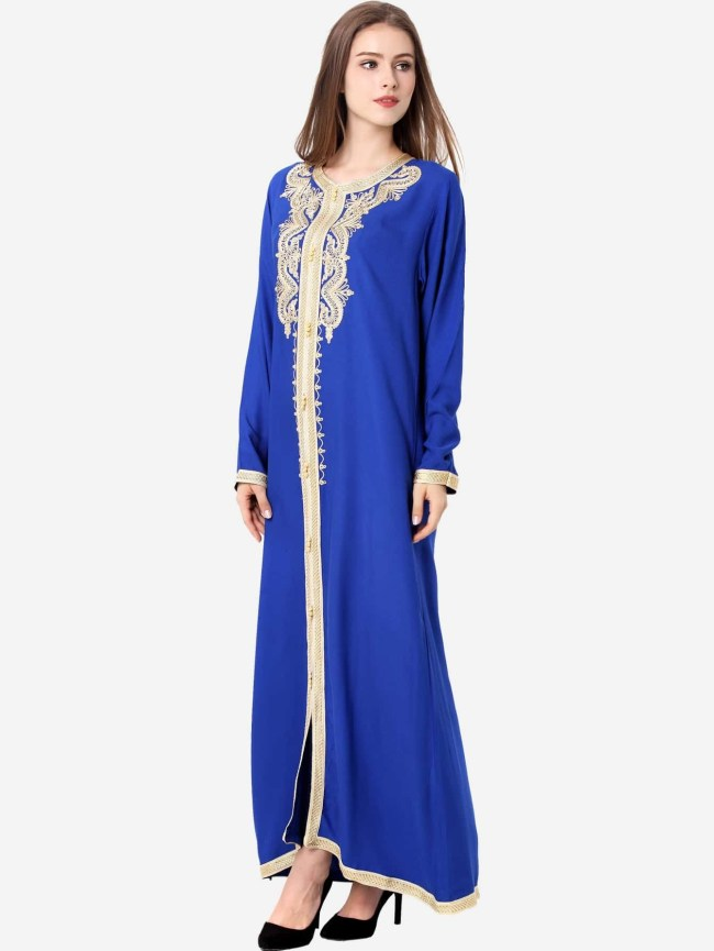 SheIn Contrast Trim Appliques Hijab Evening Dress