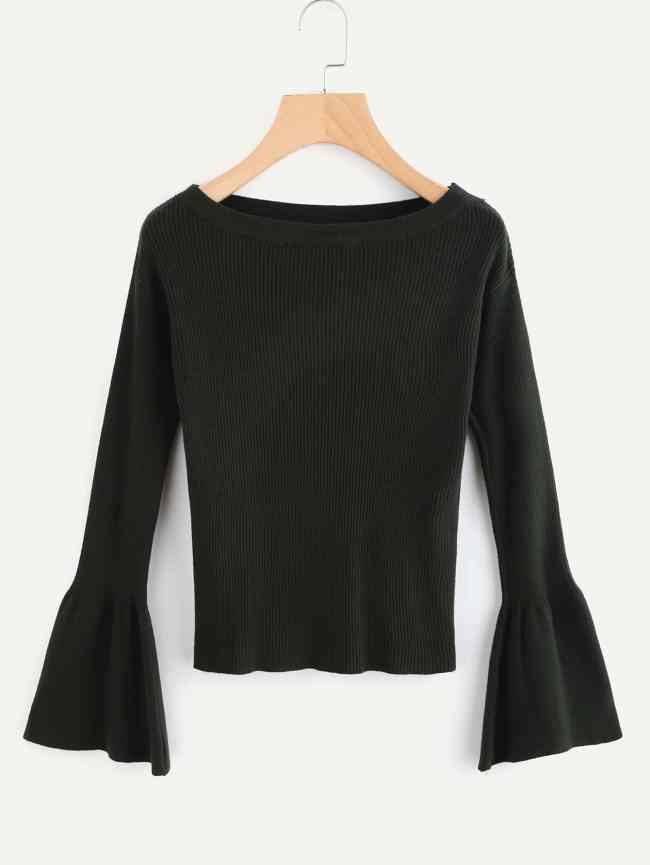 SheIn Fluted Sleeve Ribbed Sweater