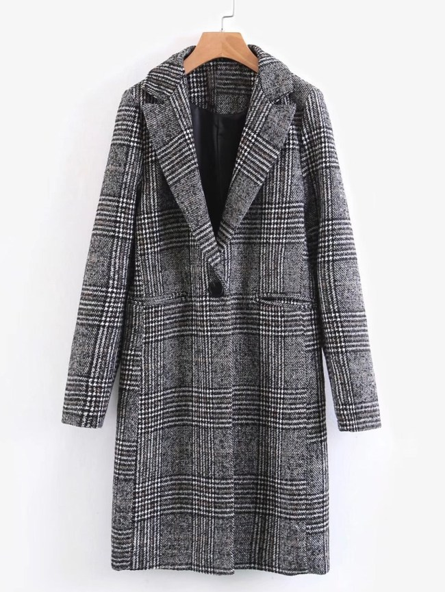 SheIn Single Button Plaid Reefer Coat