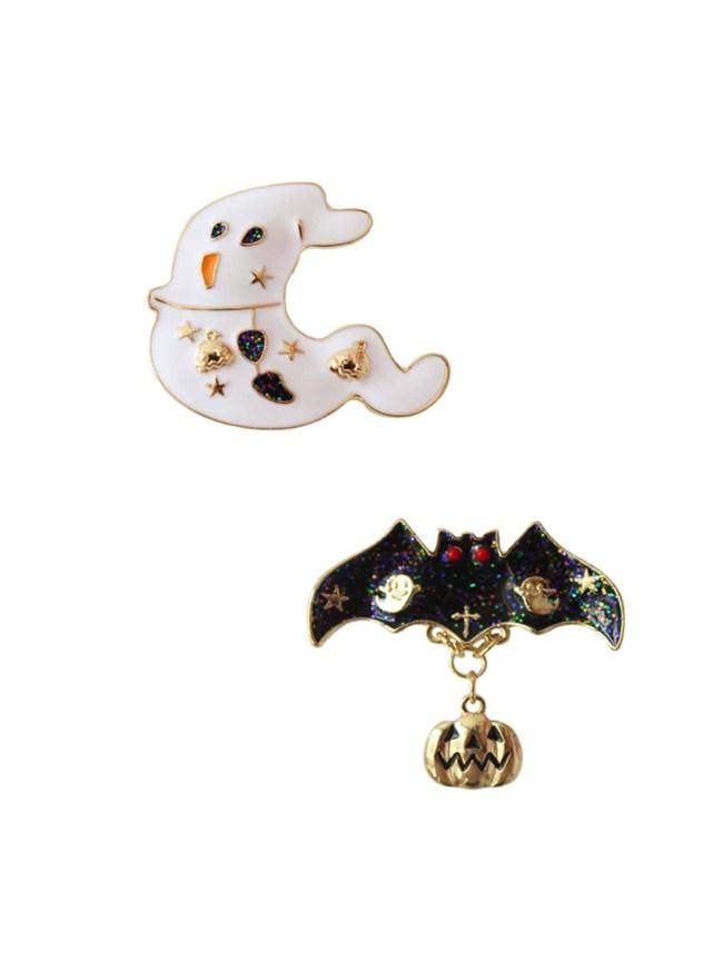SheIn Ghost & Bat Design Brooch Set 2pcs