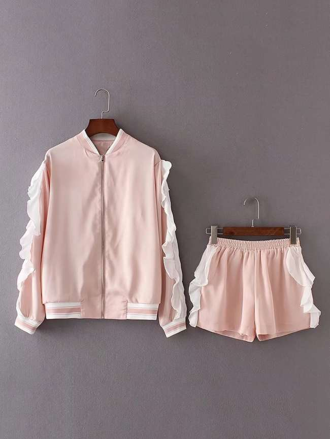 SheIn Contrast Flounce Detail Jacket With Shorts