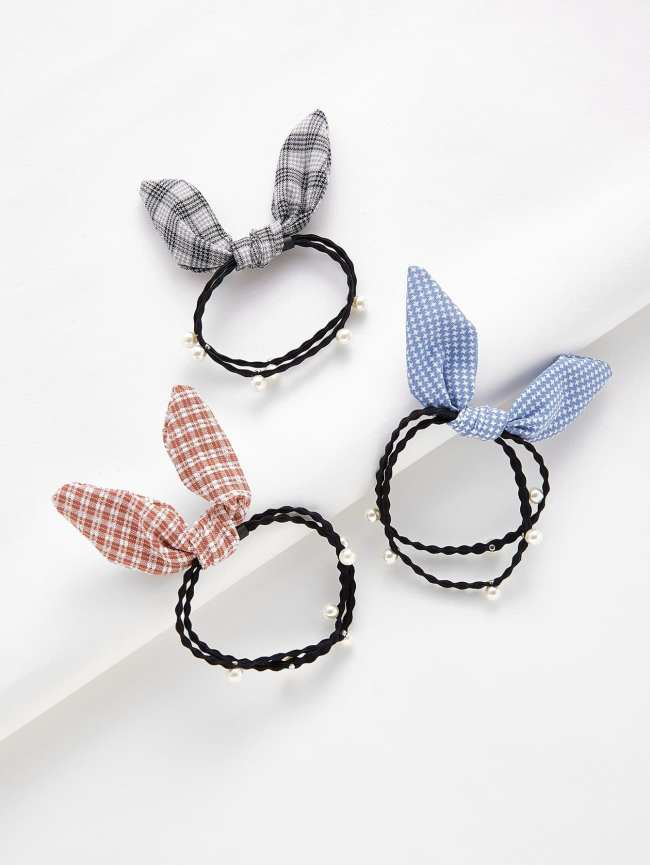 SheIn Knotted Bow & Faux Pearl Hair Tie 3pcs