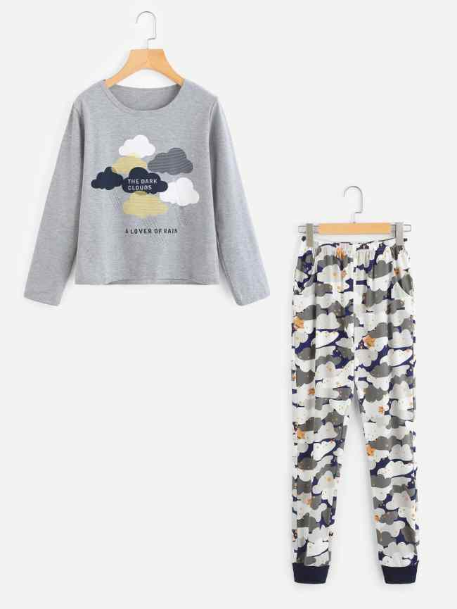 SheIn Cloud Print Pullover And Pants Pajama Set