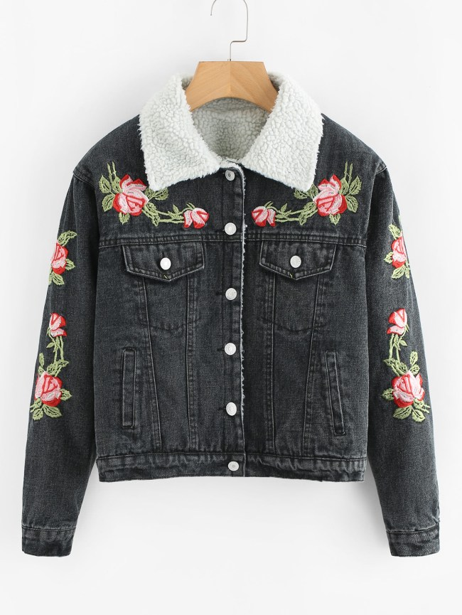 SheIn Faux Fur Lined Flower Embroidered Denim Jacket