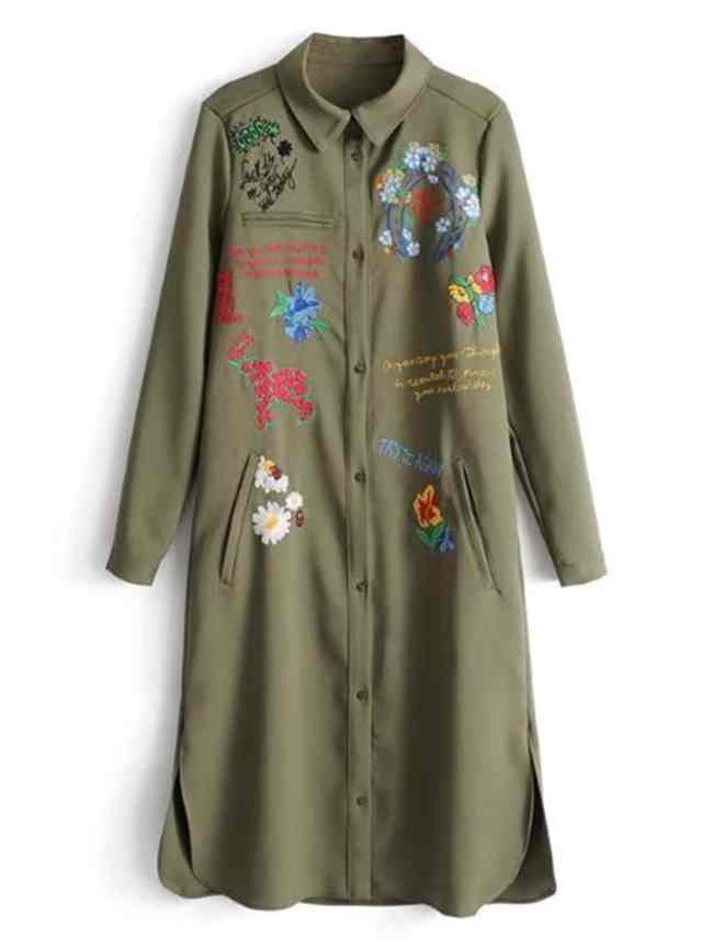 SheIn Flower Embroidered Slit Side Coat