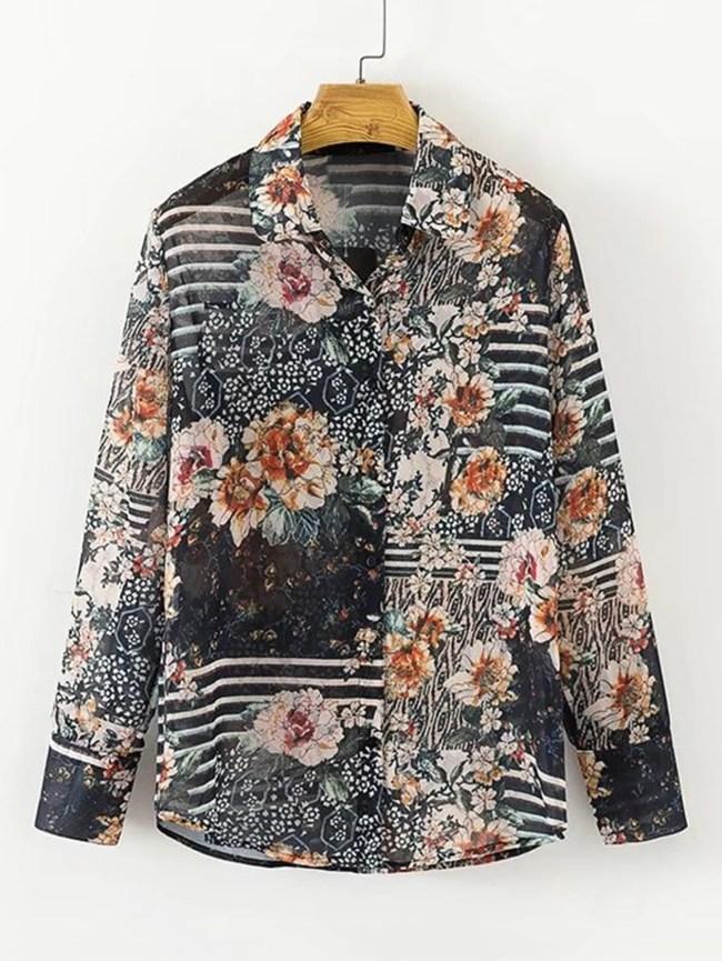 SheIn Allover Florals Print Shirt