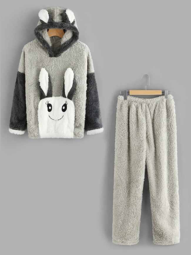 SheIn Rabbit Ear Hooded Top And Pants Pajama Set