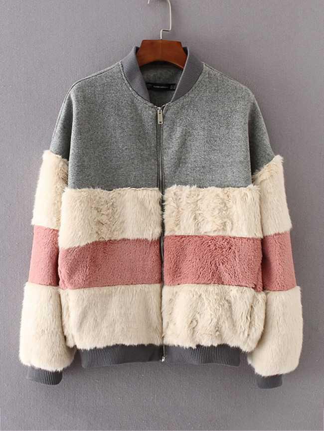 SheIn Block Striped Faux Fur Panel Jacket