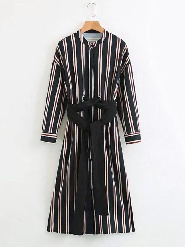 SheIn Vertical Striped Self Tie Shirt Dress