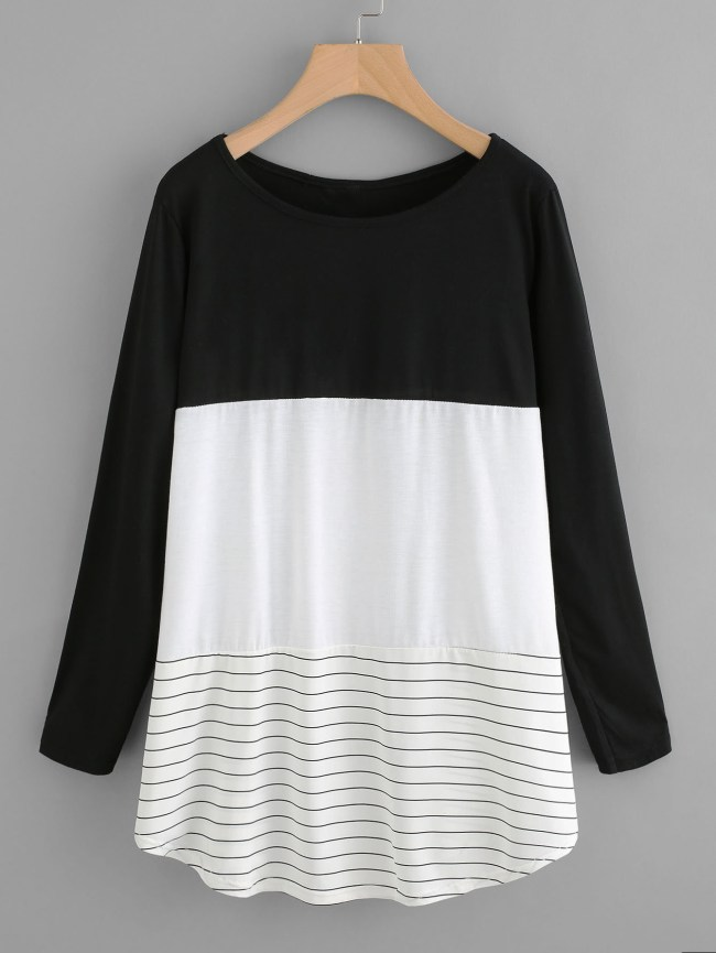 SheIn Color Block Striped Tee