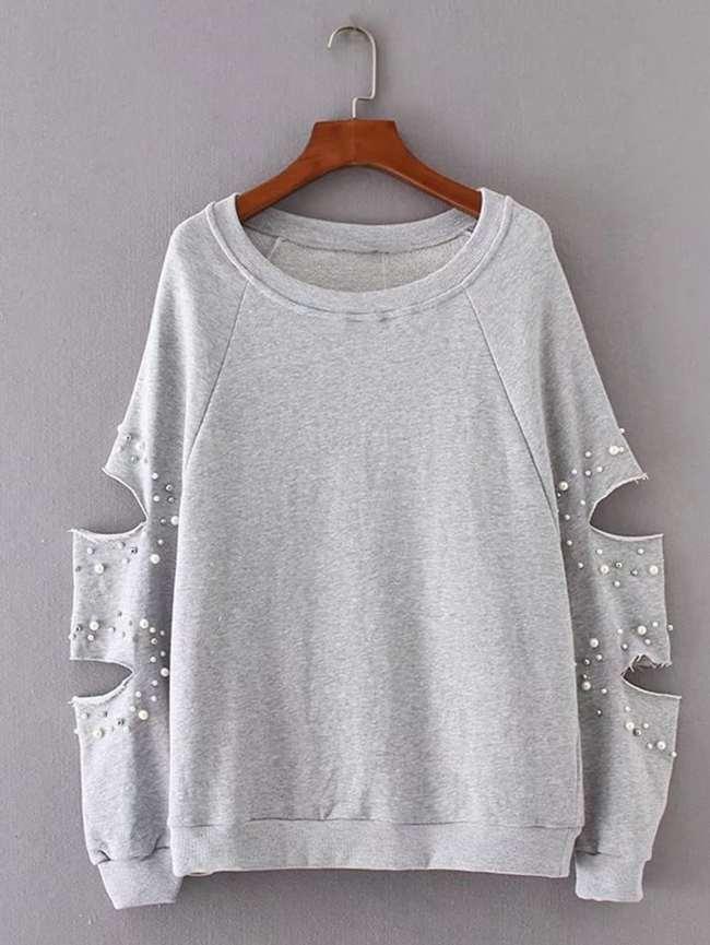 SheIn Faux Pearl Embellished Cutout Sleeve Sweatshirt